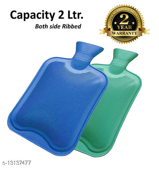 my cure Hot Water Bottle/Hot Rubber Water Bag, 2Ltr. Capacity with 2 Year Warranty (Pack of 2,Blue&Green)