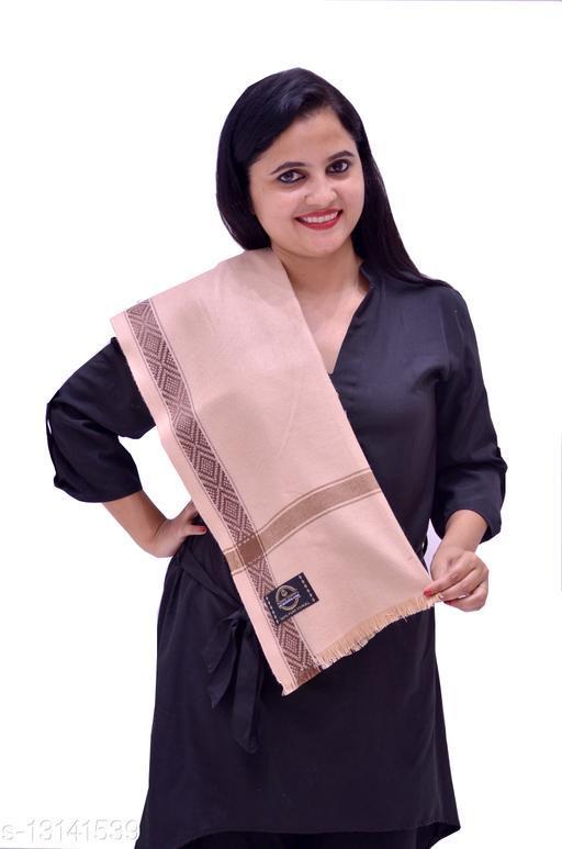 Woven Wool Blend Border Shawl/Lohi 40x80