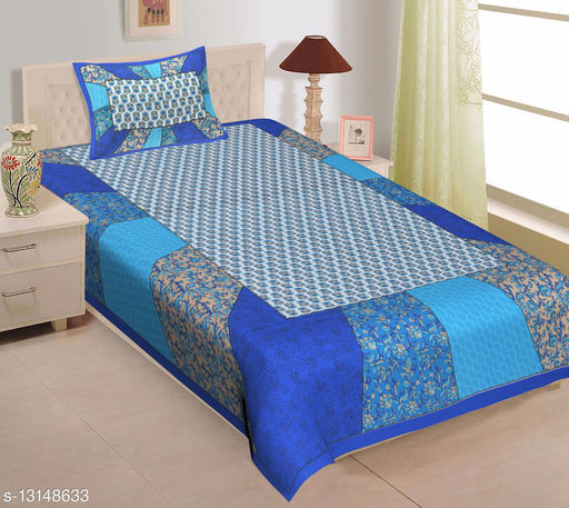 Blue Hendlook Single Bedsheet with 1 Pillow Cover