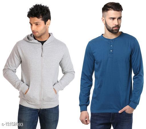 Ansh Fashion Wear Men's Sewatshirt With Hoodie And Full Sleeves Henley T-shirt