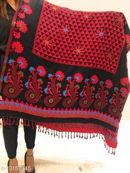 Women Floral designer border, Kashmiri Wool blend shawl