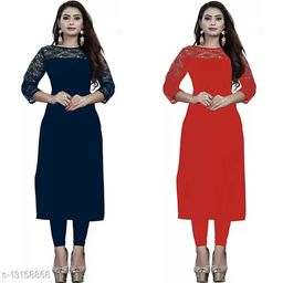 """Combo of 1 Blue And 1 Red American Crepe And Rasal Net 3/4th Sleeves Kurti (45""""Inches)"""
