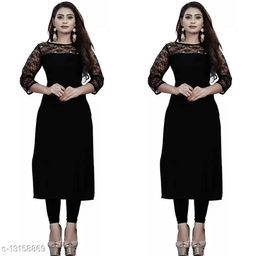 """Combo of 2 Black American Crepe And Rasal Net 3/4th Sleeves Kurti (45""""Inches)"""