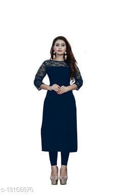 """American Crepe And Rasal Net 3/4th Sleeves Blue Kurti (45""""Inches)"""