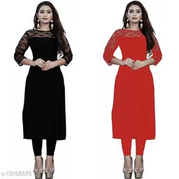 """Combo of 1 Black And 1 Red American Crepe And Rasal Net 3/4th Sleeves Kurti (45""""Inches)"""