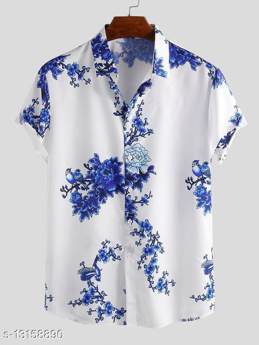 Floral Printed Short Sleeve Casual Shirt-(Stiched Size-XXL)