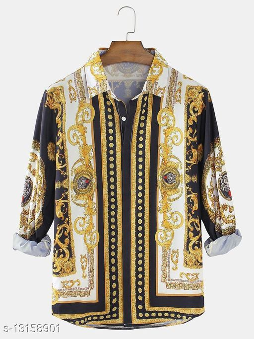 Baroque Print Patch Casual Lapel Shirts(Stiched Size-M)