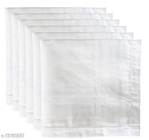 100% Cotton Premium Collection Handkerchiefs Hanky For Men - Pack of 6 - White