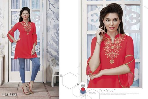 Kurtis & Kurtas Pretty Georgette Women's Short Kurti  *Fabric* Outer - Georgette, Inner - Santoon  *Sleeves* Sleeves Are Included  *Size* XL- 42 in  *Length* Up To 28 in  *Type* Stitched  *Description* It Has 1 Piece Of Women's Short Kurti  *Work* Embroidered  *Sizes Available* XL *    Catalog Name: Diva Pretty Georgette Women's Short Kurtis Vol 1 CatalogID_168474 C74-SC1001 Code: 186-1316376-