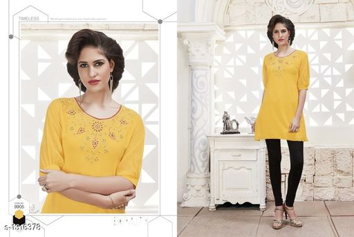 Kurtis & Kurtas Pretty Georgette Women's Short Kurti  *Fabric* Outer - Georgette, Inner - Santoon  *Sleeves* Sleeves Are Included  *Size* XL- 42 in  *Length* Up To 28 in  *Type* Stitched  *Description* It Has 1 Piece Of Women's Short Kurti  *Work* Embroidered  *Sizes Available* XL *    Catalog Name: Diva Pretty Georgette Women's Short Kurtis Vol 1 CatalogID_168474 C74-SC1001 Code: 186-1316378-