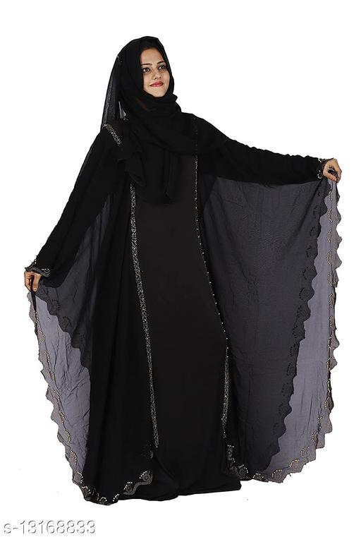 Women's Lycra & Georgette Fabric Dubai Butterfly Stone Work Abaya Burqa with Hijab.