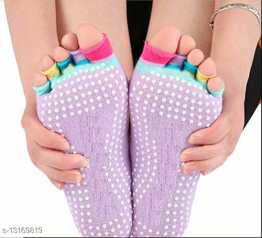 Women Yoga Socks Half Finger Non Slip Ladies Massage Sport Socks Half-fingers Cotton Warm Exercise Running Hose Girl Socks(1 Pair)