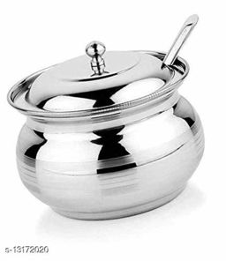 Set of 1 Pieces Stainless Steel Ghee Pot, Oil Container with Lid and Spoon (250 ml)