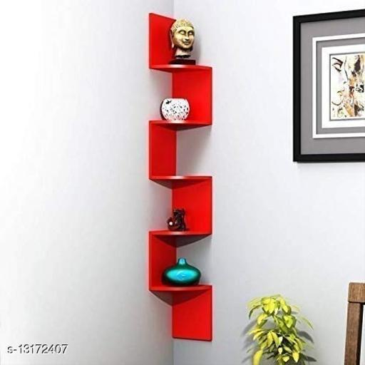 SHAH EMPORIUM Zigzag Corner Wall Mount Shelf Unit Rack (Standard, Red)