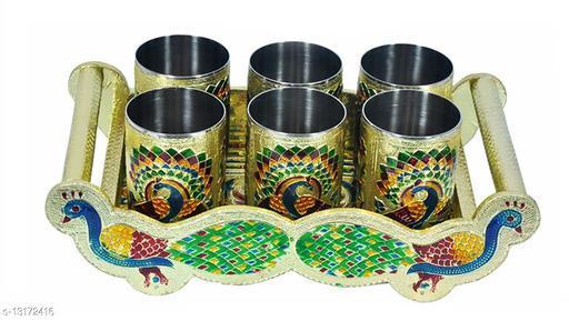 Leoneel Oxidize Glass, Handicraft, Oxidized Peacock Design Glass Serving Set with Handle Glass Tray Set