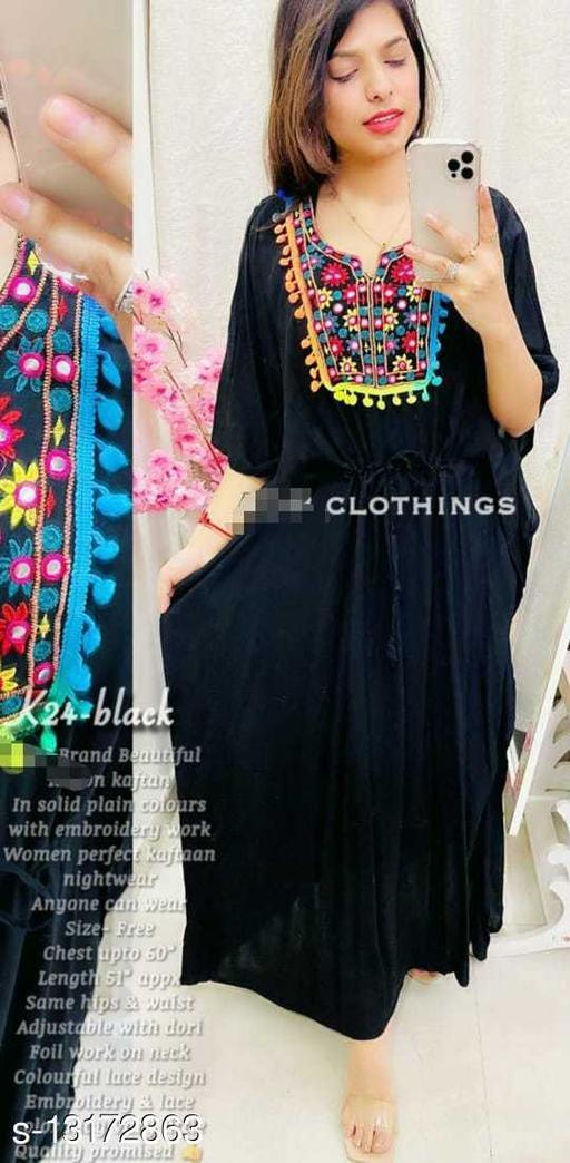 Women's Black Rayon Gown