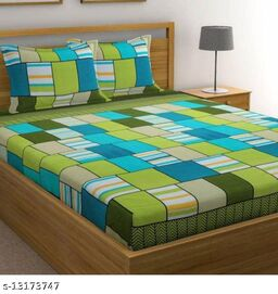 MYTHIKAL 144 TC 3D Printed Polycotton Double Bedsheet with 2 Matching Pillow Covers (Multicolour, 90 inches X 90 Inches)
