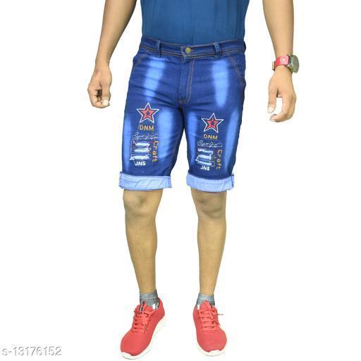 Men Blue Denim Shorts