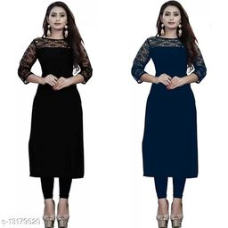 """Combo of 1 Black And 1 Blue American Crepe And Rasal Net 3/4th Sleeves Kurti (45""""Inches)"""