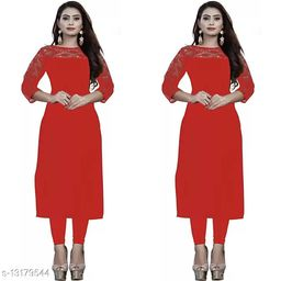 """Combo of 2 Red American Crepe And Rasal Net 3/4th Sleeves Kurti (45""""Inches)"""