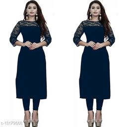 """Combo of 2 Blue American Crepe And Rasal Net 3/4th Sleeves Kurti (45""""Inches)"""