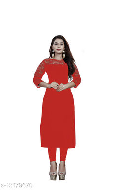 """American Crepe And Rasal Net 3/4th Sleeves Red Kurti (45""""Inches)"""