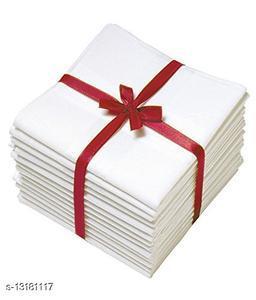 ARNAH TREASURE Pure White Handkerchief Set For Men & Boys (PACK OF 6)