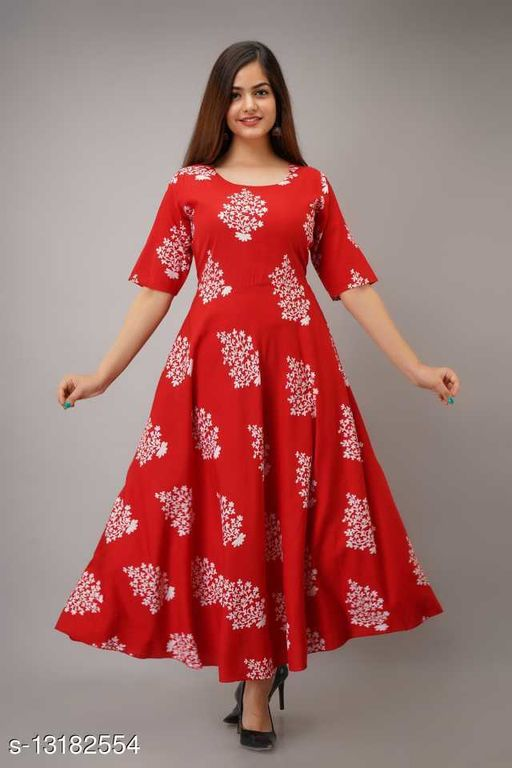 Women's Printed Full Long Gown Dress Kurti for Casual and Work wear for Women and Girls