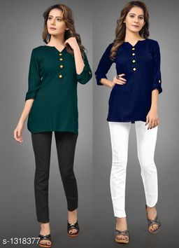 Women's Solid Green Rayon Top