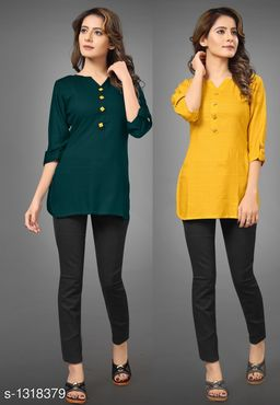 Women's Solid Yellow Rayon Top