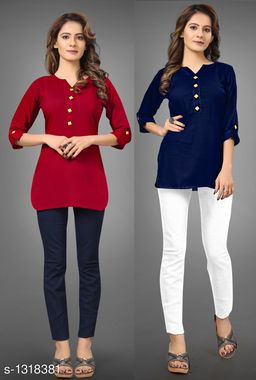 Women's Solid Navy Blue Rayon Top