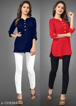 Women's Solid Red Rayon Top
