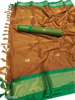 MH Traditional Paithani Silk Sarees With Contrast Blouse Piece (Rust & Green)