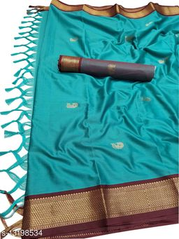 MH Traditional Paithani Silk Sarees With Contrast Blouse Piece (Cyan & Brown)