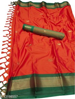 MH Traditional Paithani Silk Sarees With Contrast Blouse Piece (Bhagwa & Green)