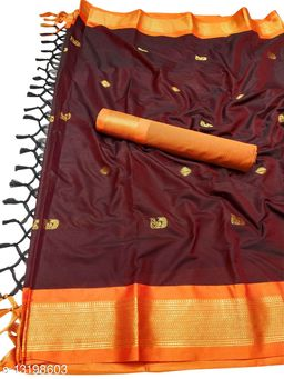 MH Traditional Paithani Silk Sarees With Contrast Blouse Piece (Brown & Orange)