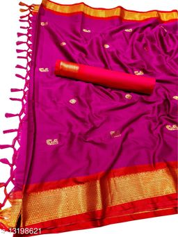 MH Traditional Paithani Silk Sarees With Contrast Blouse Piece (Rani & Red)