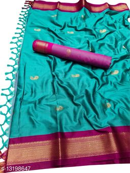 MH Traditional Paithani Silk Sarees With Contrast Blouse Piece (Cyan & Wine)