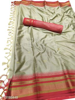 Hirkal Traditional Paithani Silk Sarees With Contrast Blouse Piece (Chiku & Red)