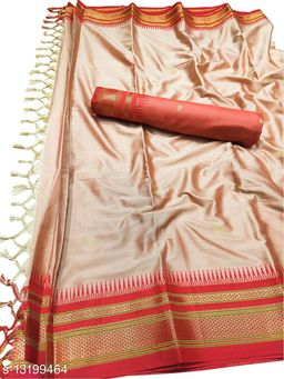 Hirkal Traditional Paithani Silk Sarees With Contrast Blouse Piece (Copper & Red)