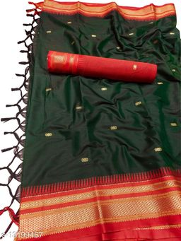 Hirkal Traditional Paithani Silk Sarees With Contrast Blouse Piece (Bottle Green & Red)