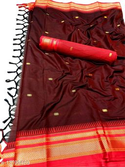 Hirkal Traditional Paithani Silk Sarees With Contrast Blouse Piece (Brown & Red)