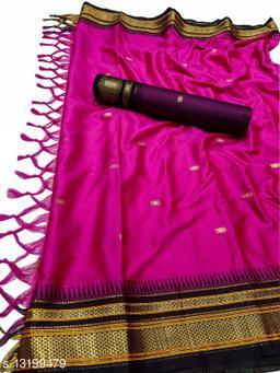 Hirkal Traditional Paithani Silk Sarees With Contrast Blouse Piece (Creamson & Black)