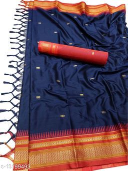 Hirkal Traditional Paithani Silk Sarees With Contrast Blouse Piece (Navy & Red)