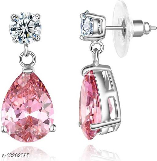 Rhodium Plated Glamorous Pink Drop Crystal Studded Dangler Earrings for Girls and Women