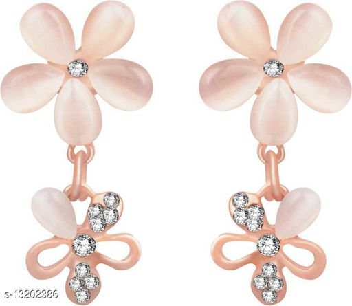 Rose Gold Plated Glorious Floral Cystal Jewellery Drop Earrings for women and girls