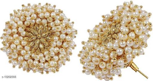 Gold Plated Stylish Coctail Polki Earrings Decorated with Pearl Beads for Girls and Women