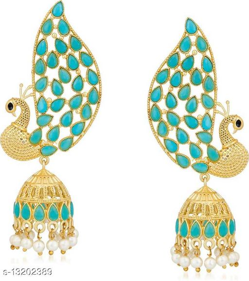 Traditional Ethnic Matte Gold Finish Dancing Peacock Mor Jhumki Earrings with Kundan Stones for Girls and Women