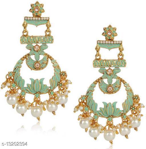 Wedding Jewellery Gold Plated Blooming Lotus Inspired Dangling Mint Green Meenakari Earrings for Girls and Women