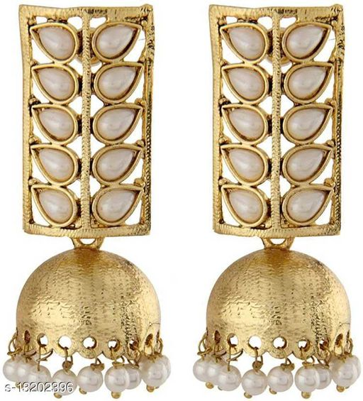 Gold Plated Traditional with Western Look Stylish and Party Wear Jhumka/Jhumki Earrings Studded with Pearls for Girls and Women